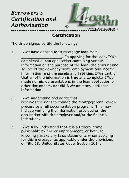 borrowers authorization and certification