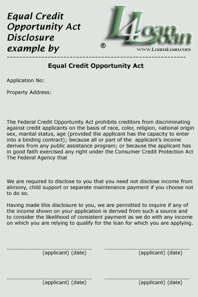 equal credit opportunity act disclosure