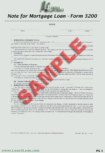 mortgage loan note