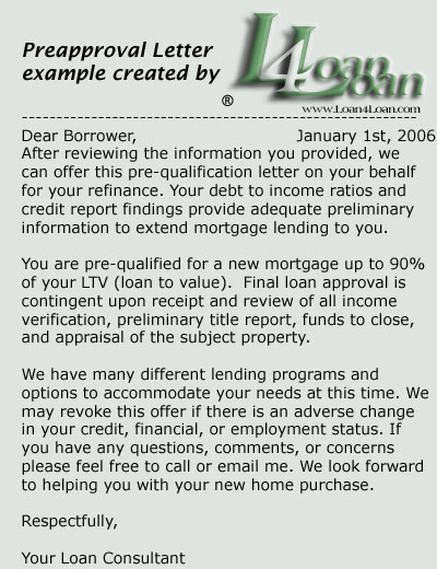 LoanLoan Mortgage Loan Collection  Preapproval Letter