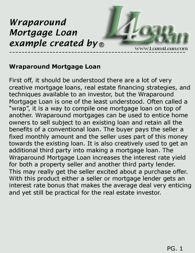 wraparound mortgage loan